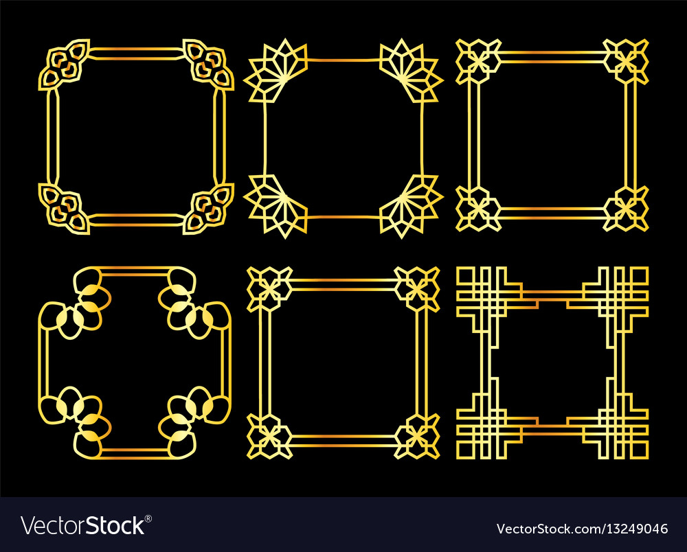 Golden square asian retro frame vector image