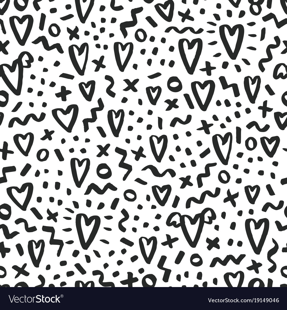 Love doodle background with hearts