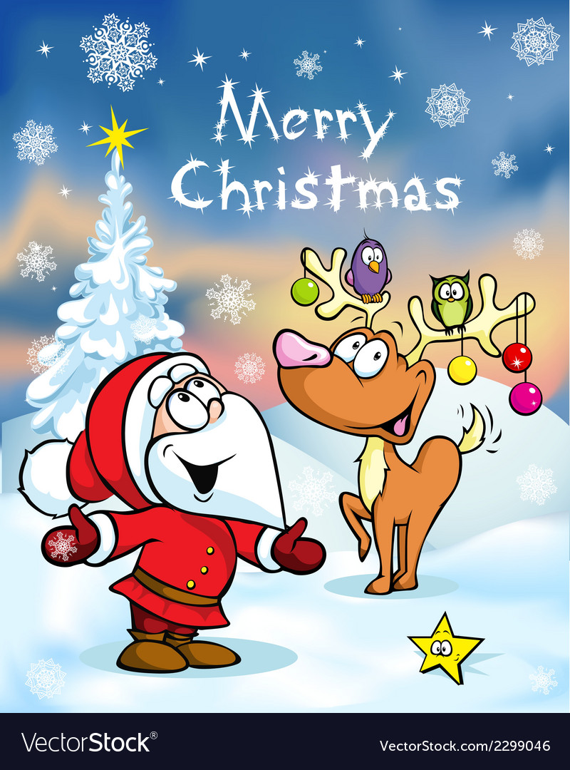 Merry christmas greeting card funny santa claus vector image m4hsunfo
