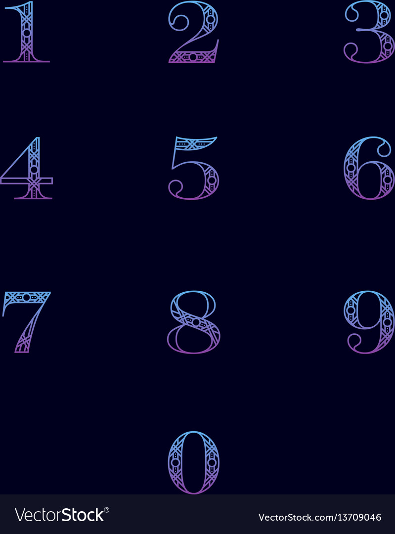 Numbers with ornament