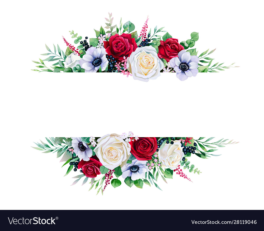 Red and white rose branches frame border