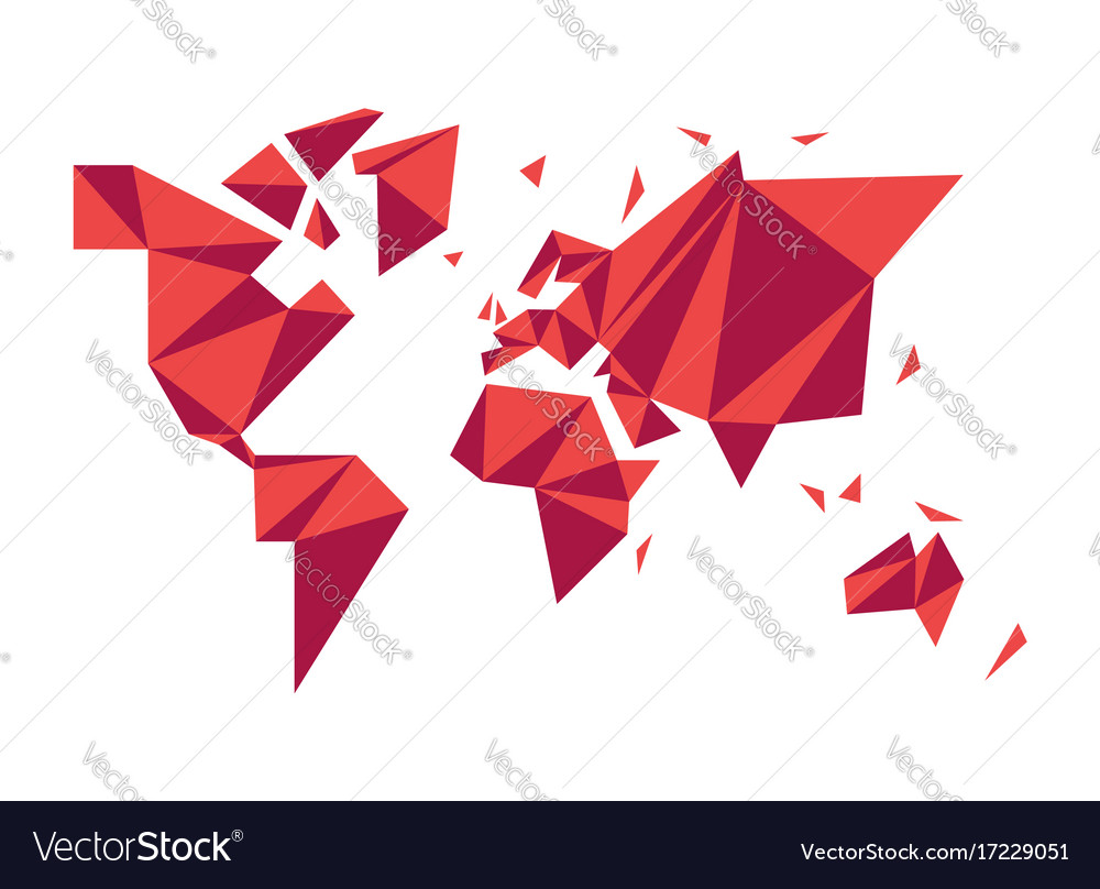 Abstract low poly world map modern concept shape