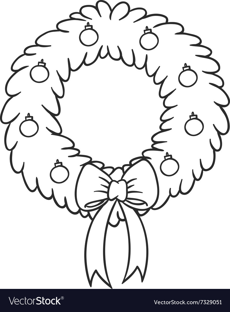 Christmas wreath cartoon Royalty Free