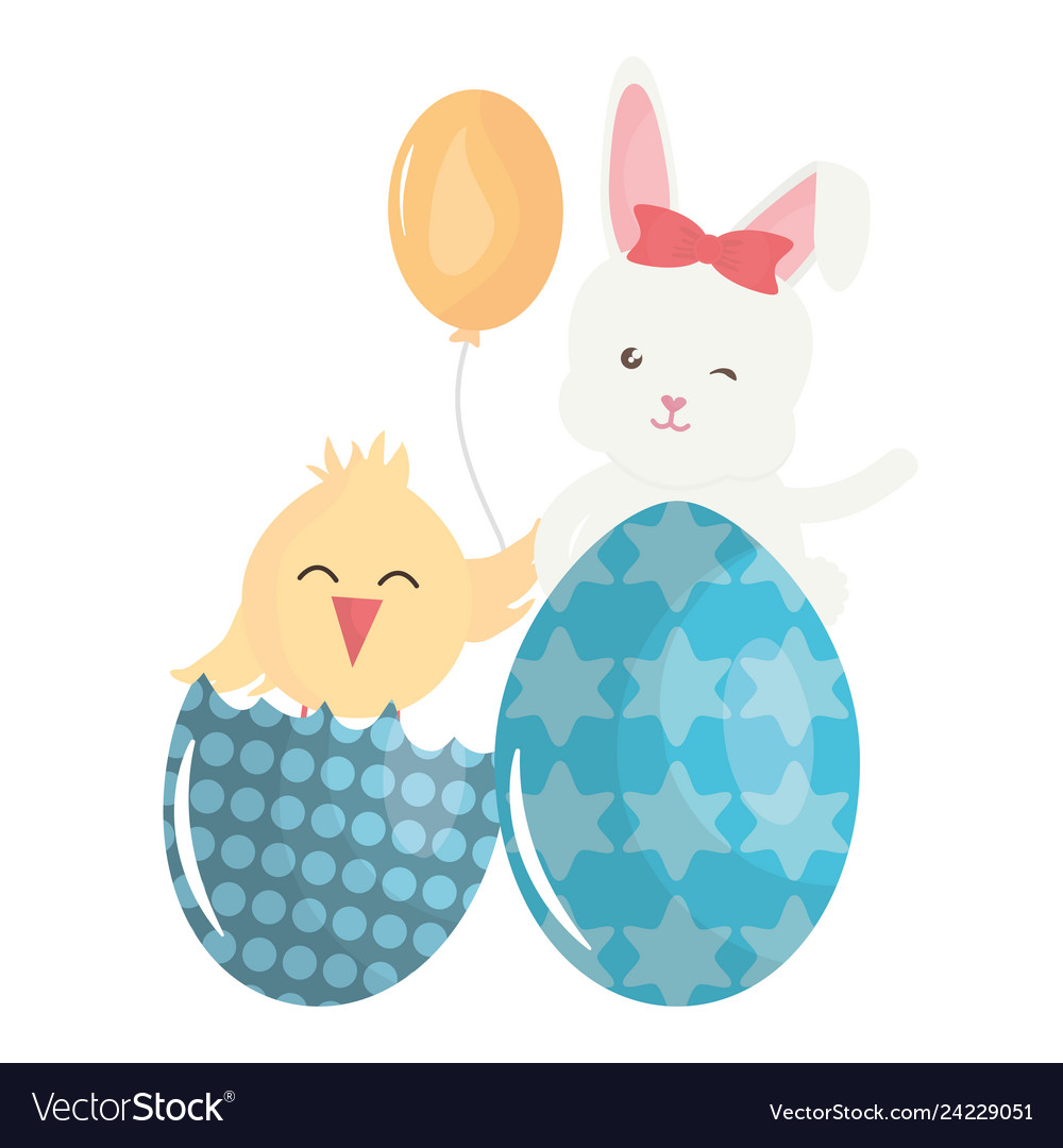 Cute rabbit with easter egg painted and chick