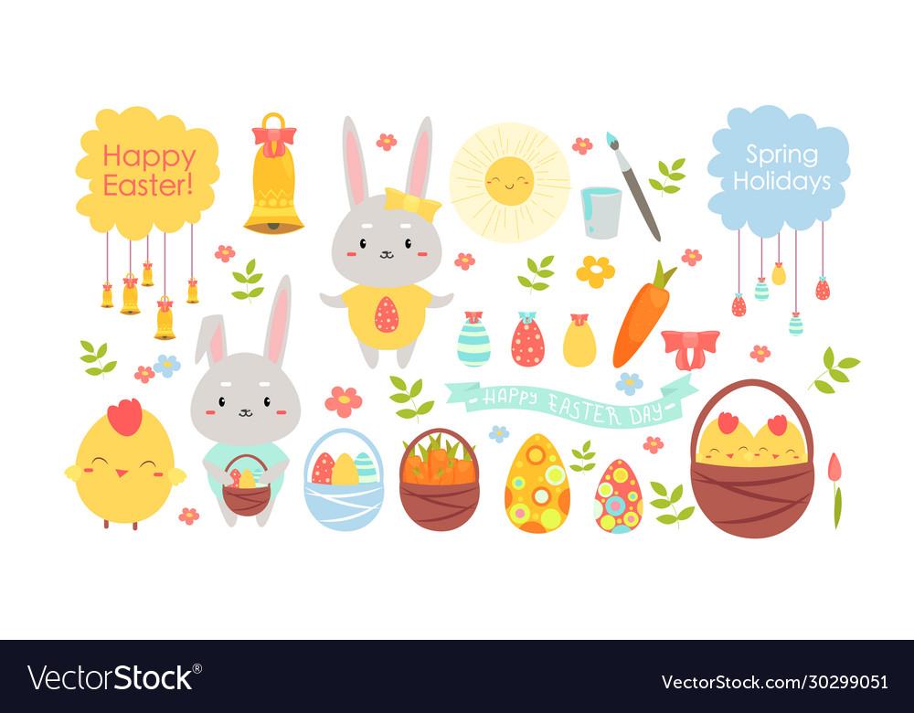 Easter color cartoon flat