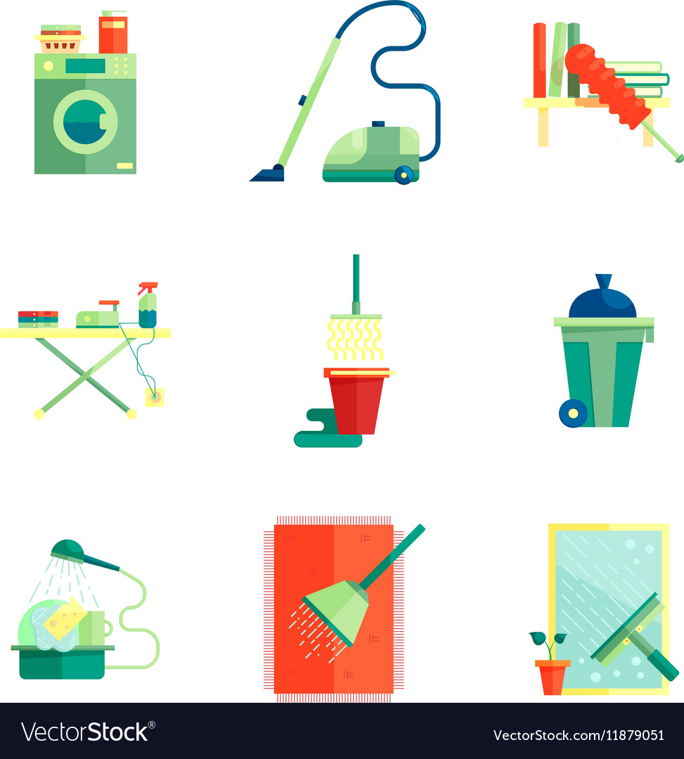 Flat housekeeping icons set vector image