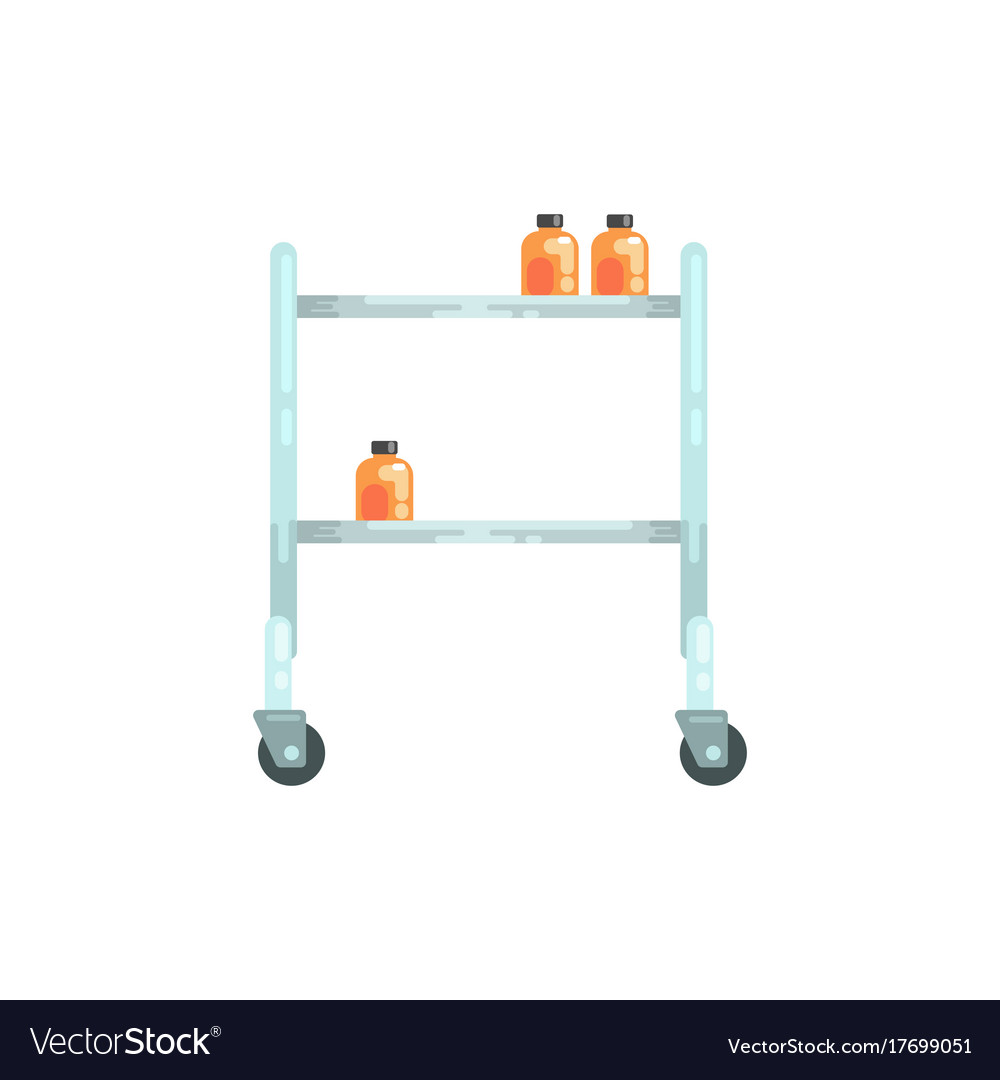 Glass Table On Wheels Medical Equipment Royalty Free Vector