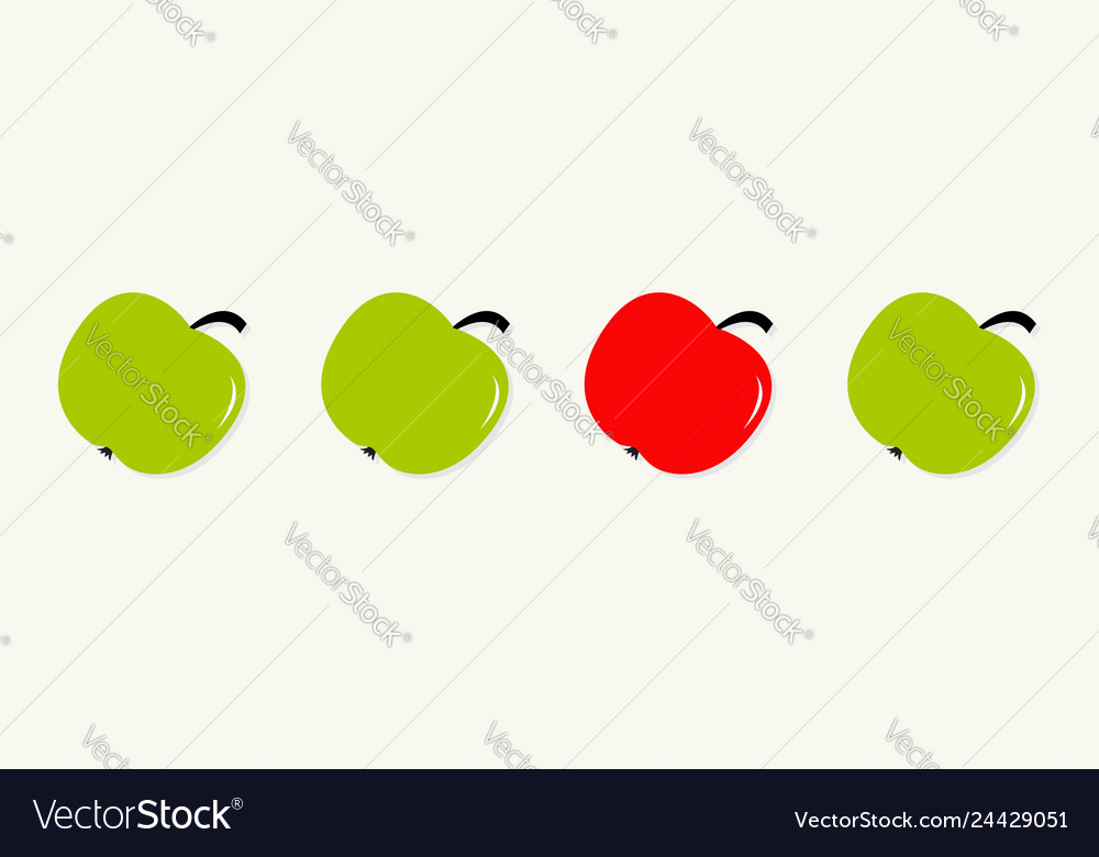 Green and red apple set line in a row healthy