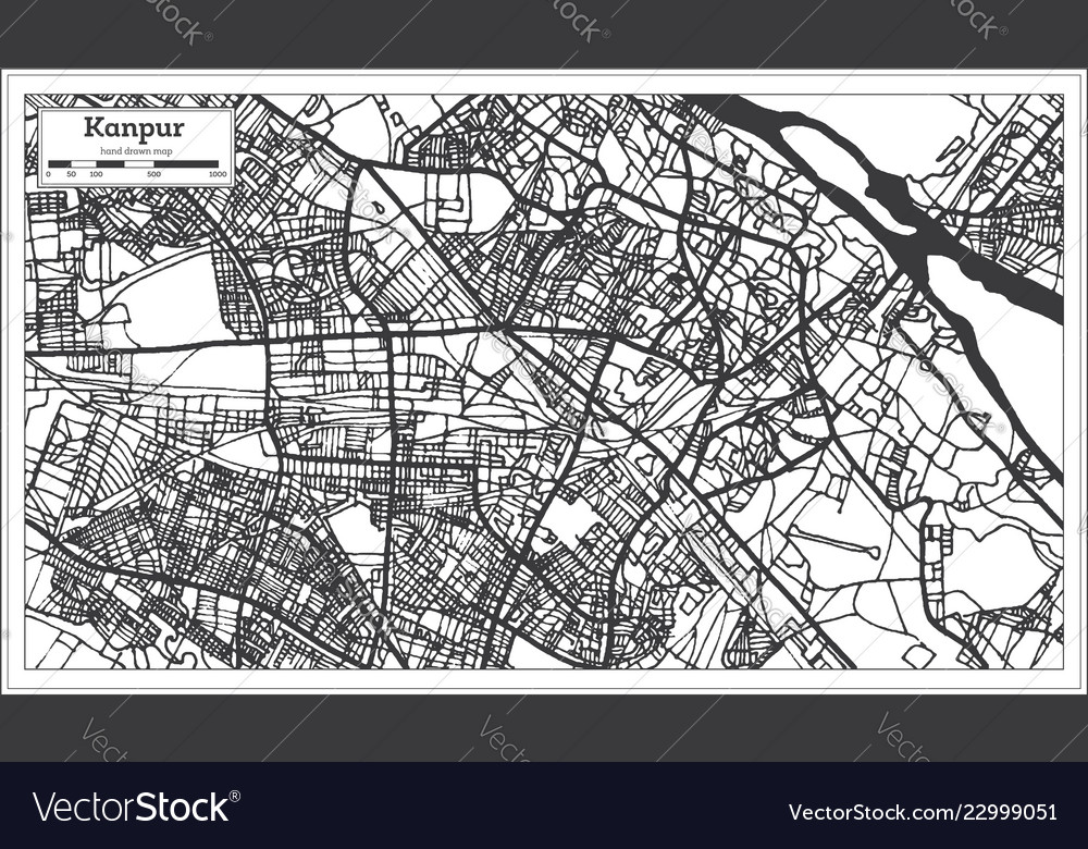 Kanpur India City Map In Retro Style Outline Map Vector Image