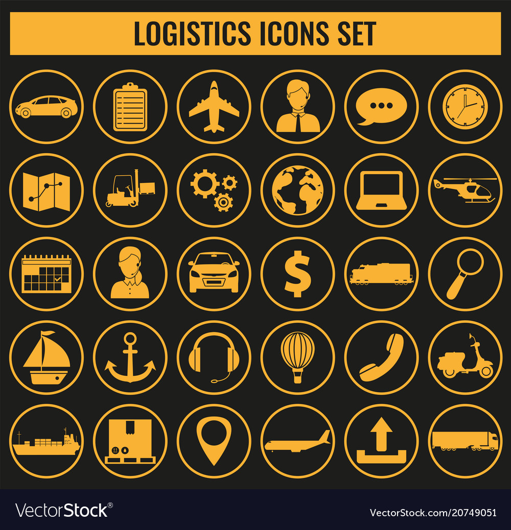 Logistics icons set delivery and transportation