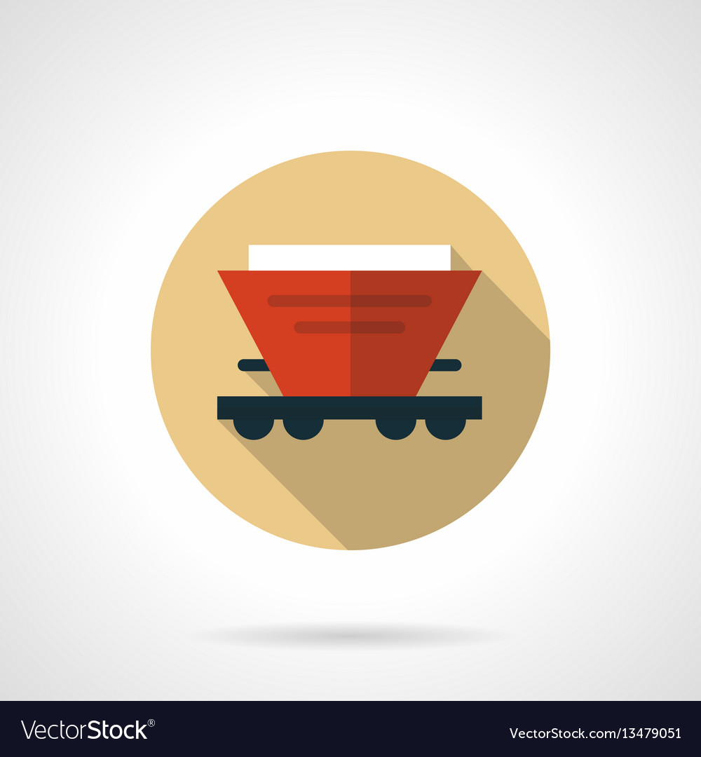 Red hopper car beige round icon