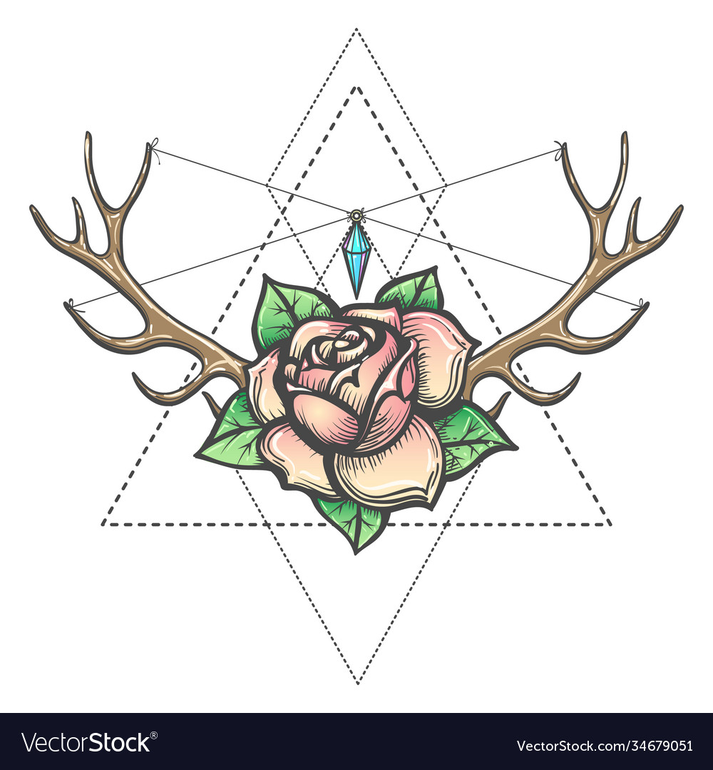 Rose flower with antlers horns and gem mystic