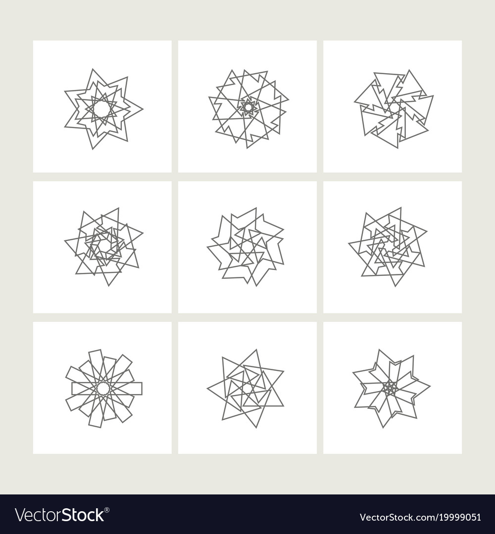 Set of minimal geometric monochrome symbol set