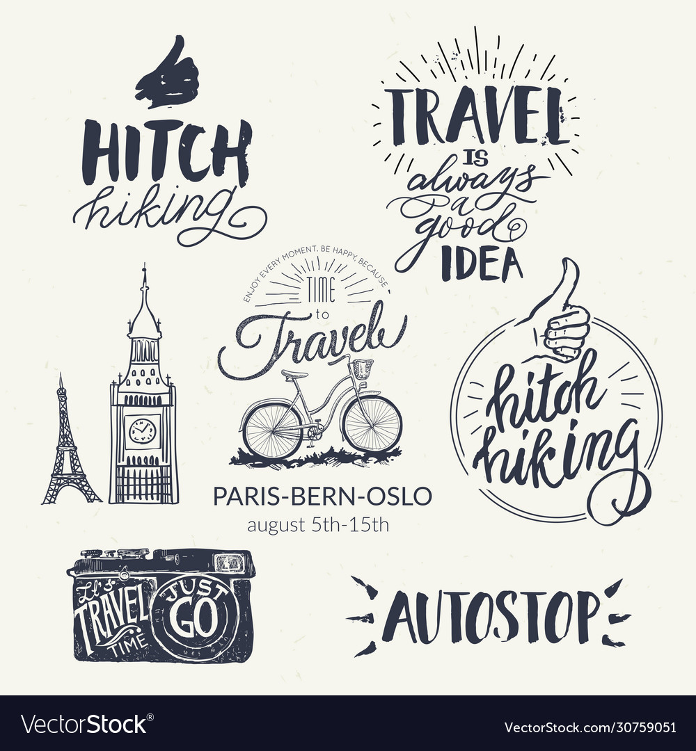 Travel set icons handwritten lettering label