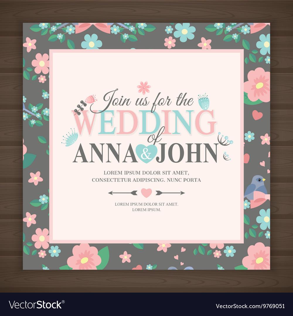 Wedding invitation card vector image
