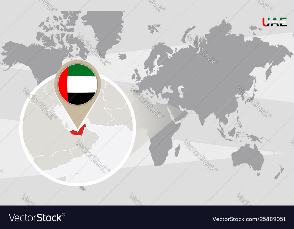 World Map With Magnified United Arab Emirates Vector Image
