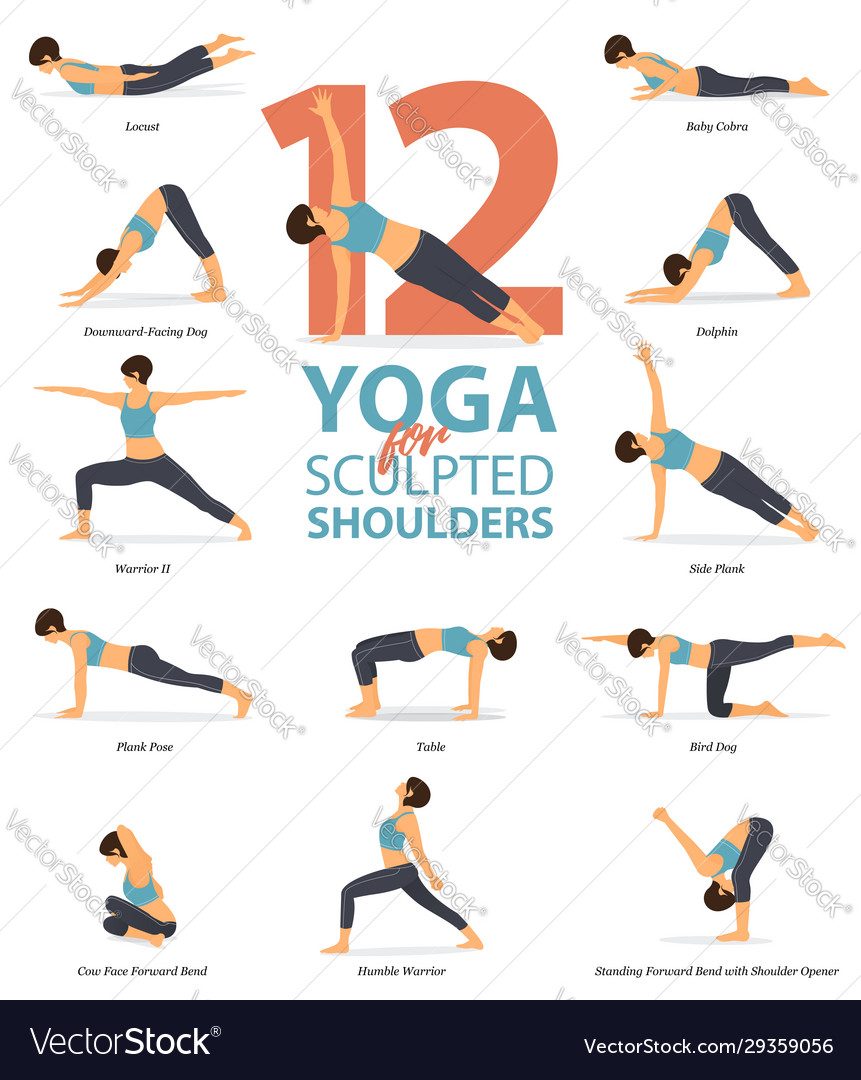 12 Yoga Poses For Sculpted Shoulders Royalty Free Vector