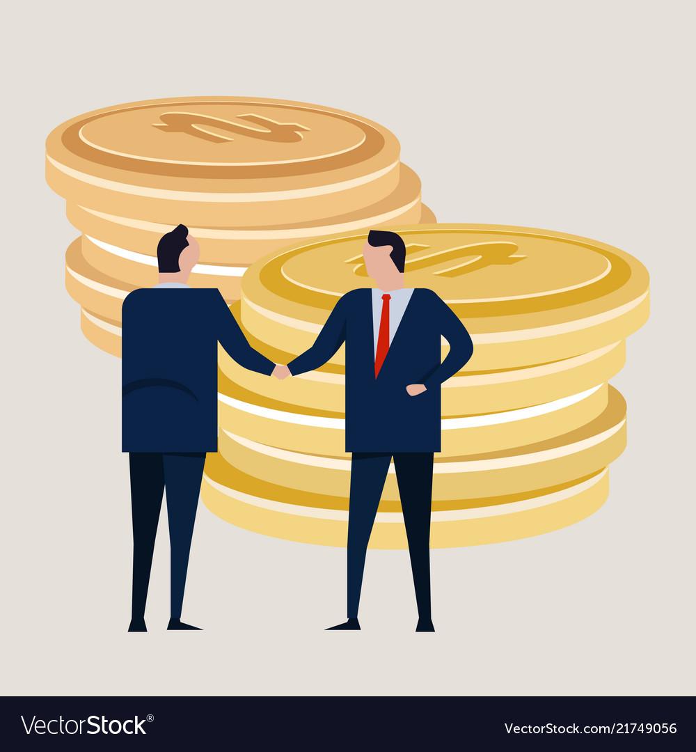 Business Investment Agreement Standing Handshake Vector Image