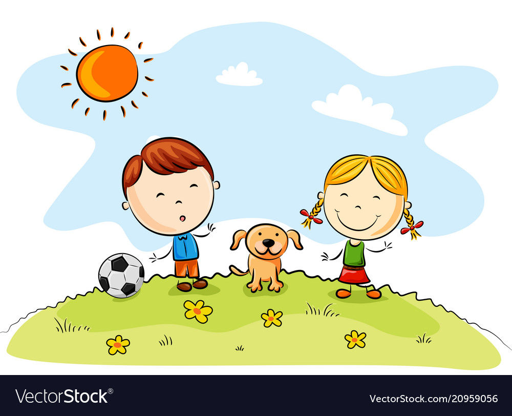 Children playing soccer with a dog in the park