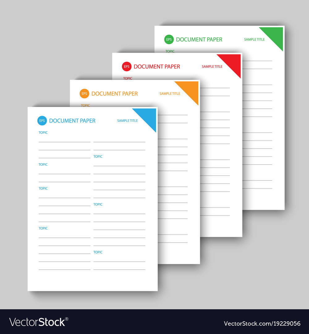 Different color document papers vector image