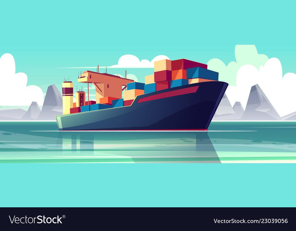 Dry-cargo ship at sea loaded boat