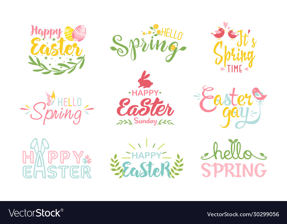 Easter and spring hand drawn colored lettering