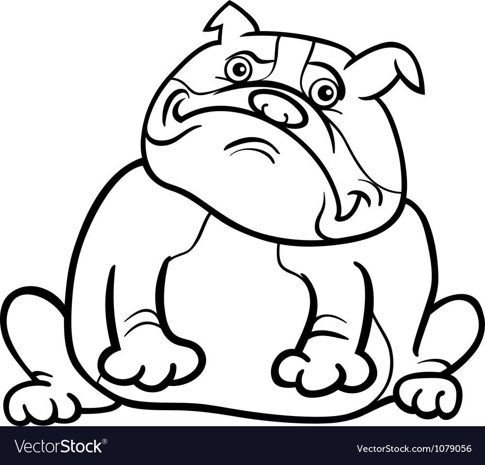 English bulldog dog cartoon for coloring book Vector Image