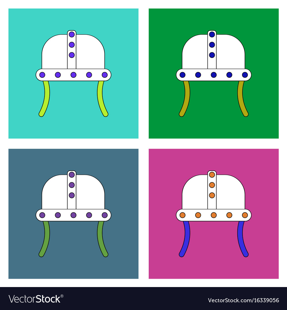 Flat icon design collection ancient helmet vector image