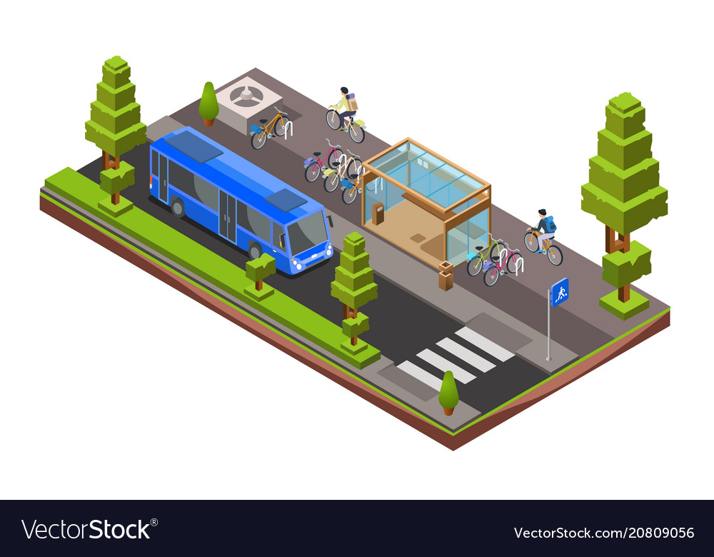 Isometric bus stop cross section