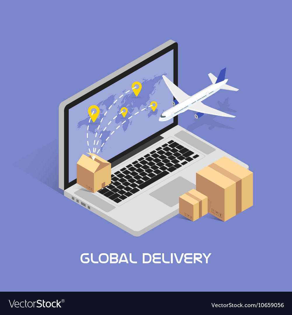 Isometric Concept Online tracking Shipping and vector image