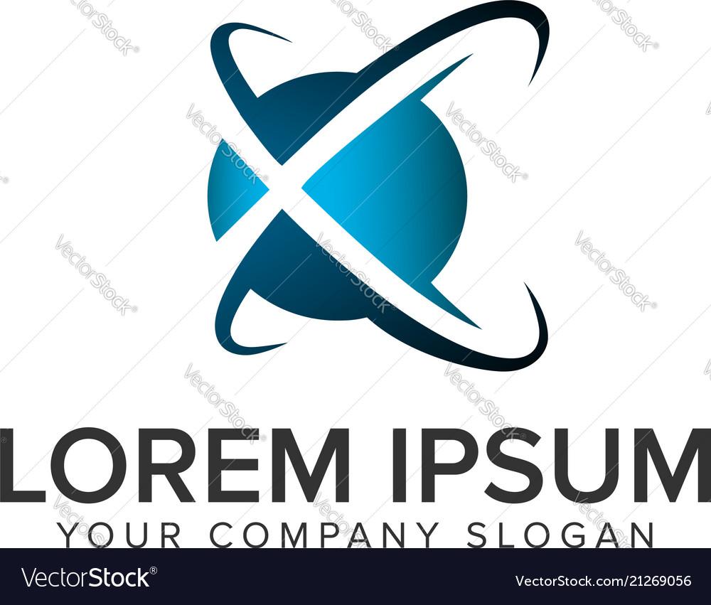 Letter x globe logo design concept template fully
