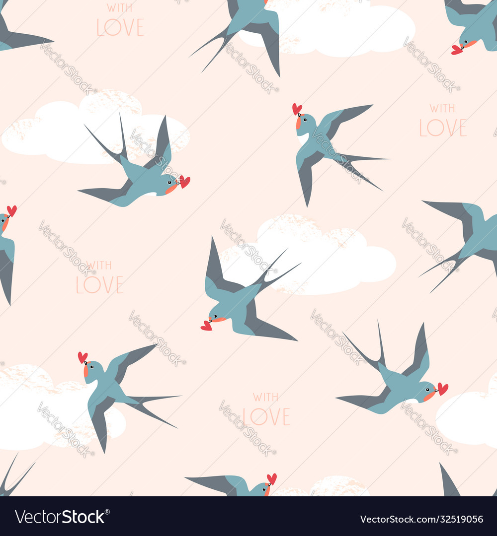 Pattern swallow birds with hearts