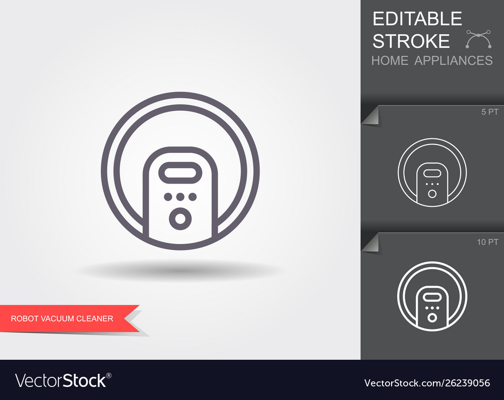 Robot vacuum cleaner line icon with editable