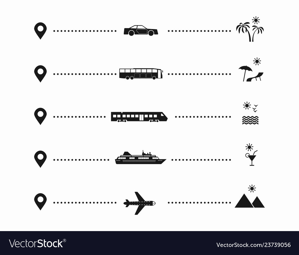 Set simple travel icons