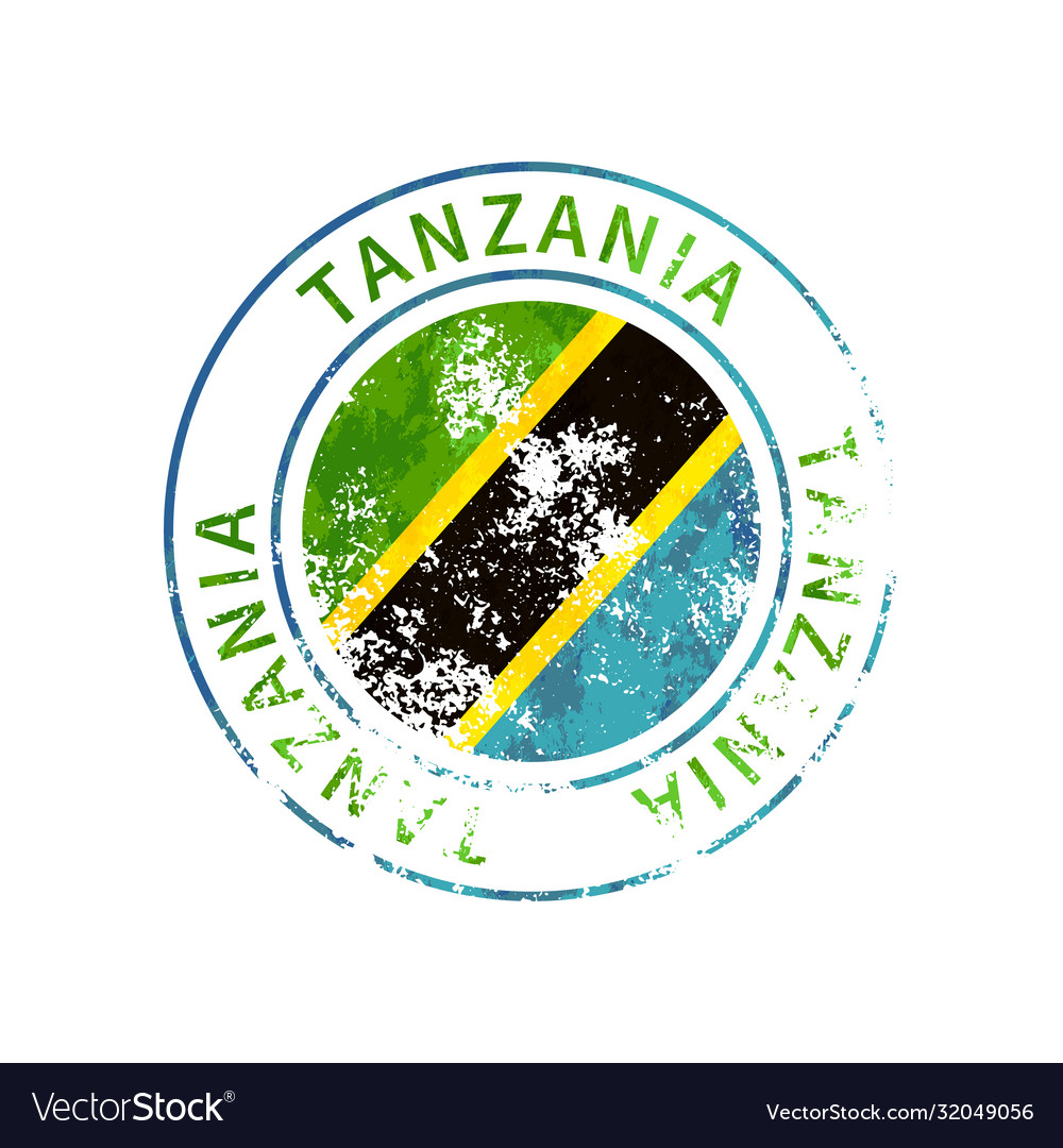 Tanzania sign vintage grunge imprint with flag on