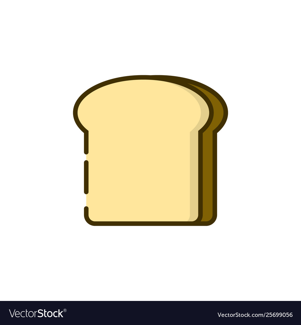Toast bread color outline icon