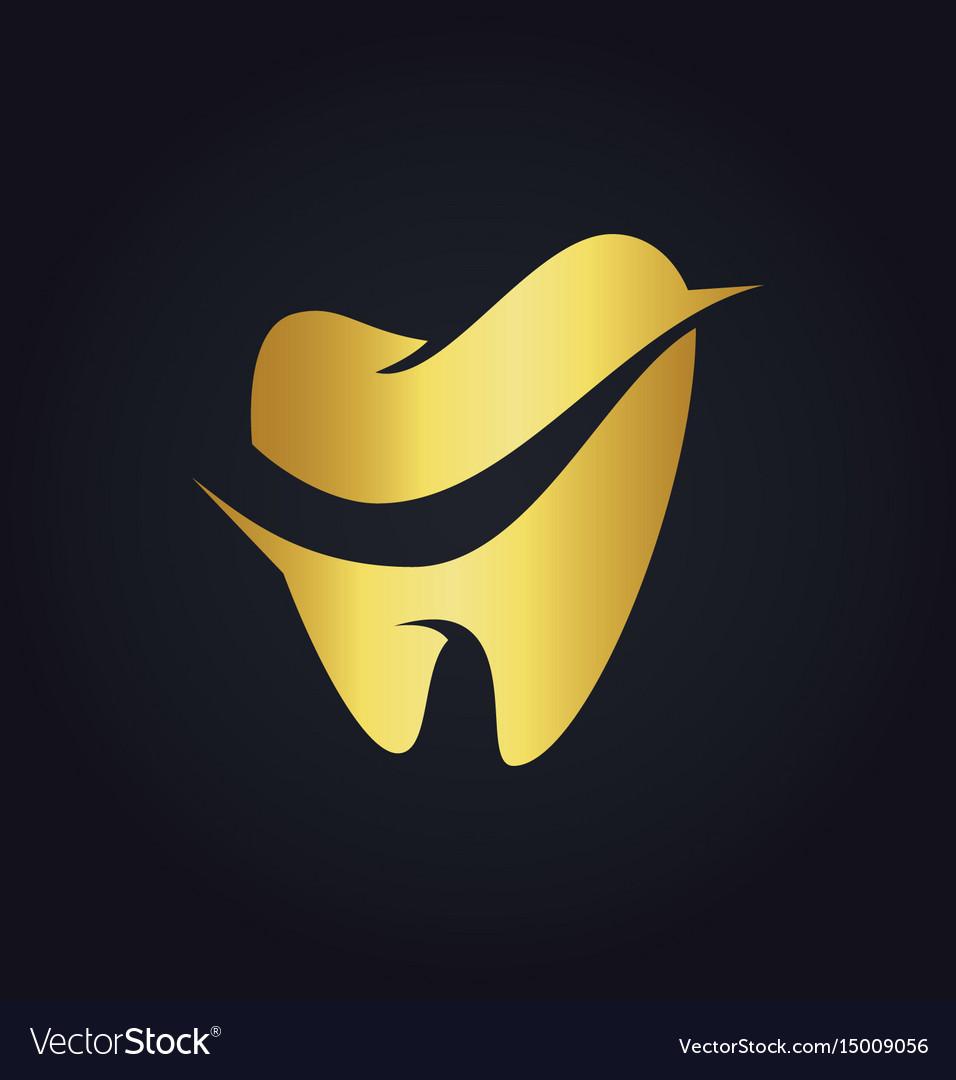 Tooth dental gold logo