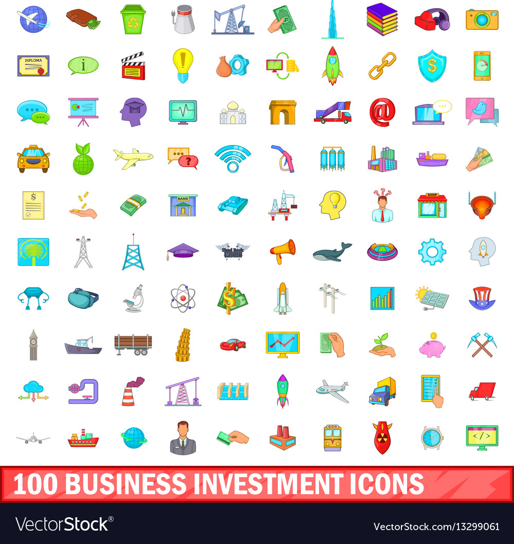 100 business investment icons set cartoon style