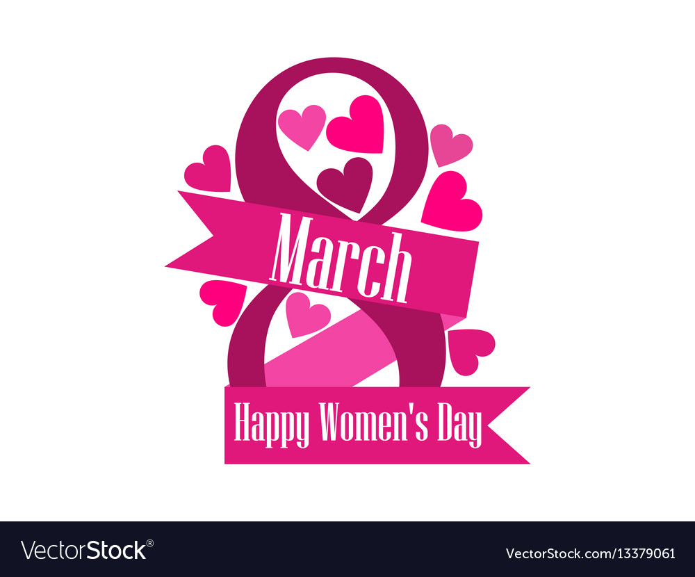 8 march day international womens day label with