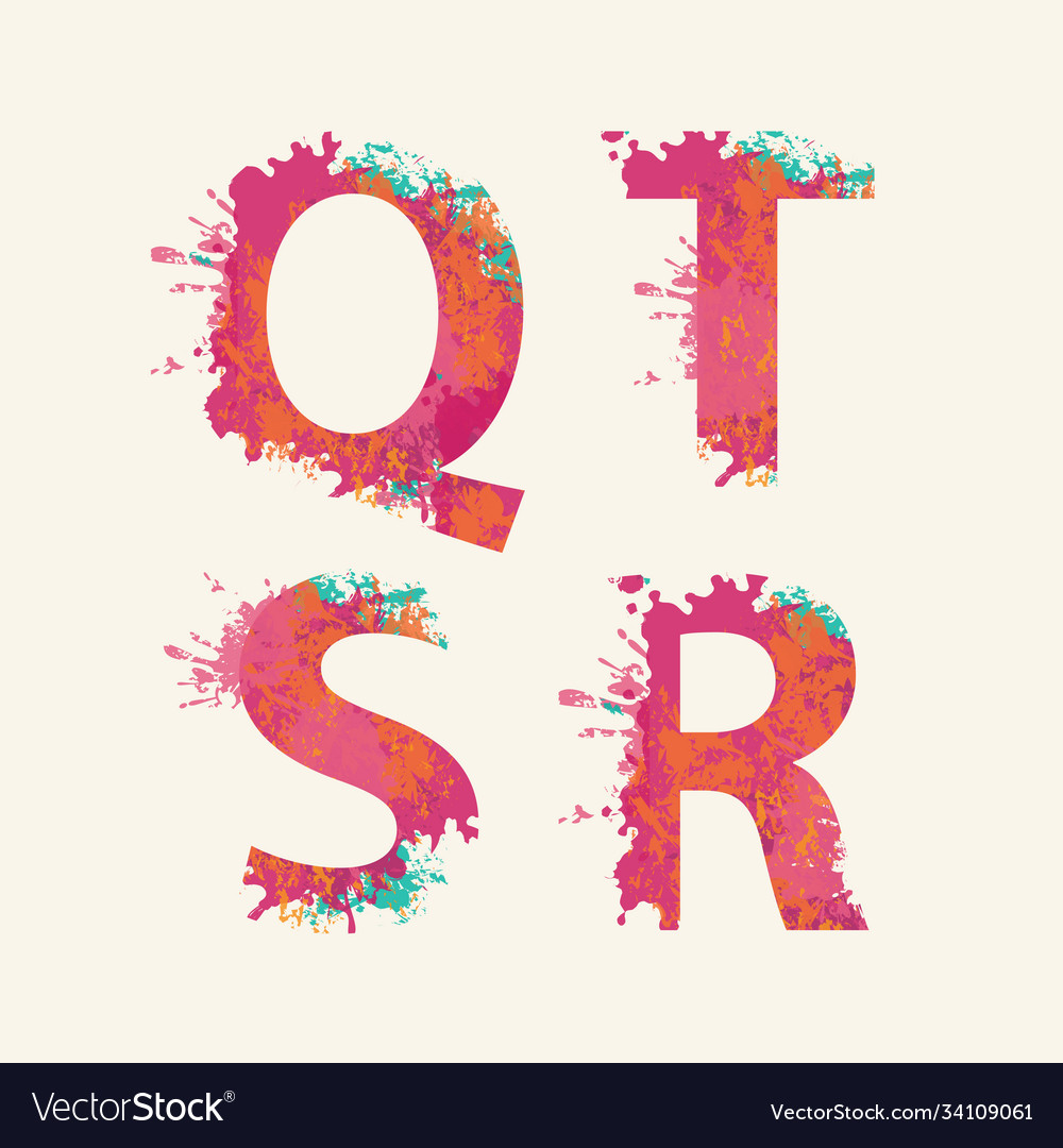 Abstract alphabet letters q r s t with color blots