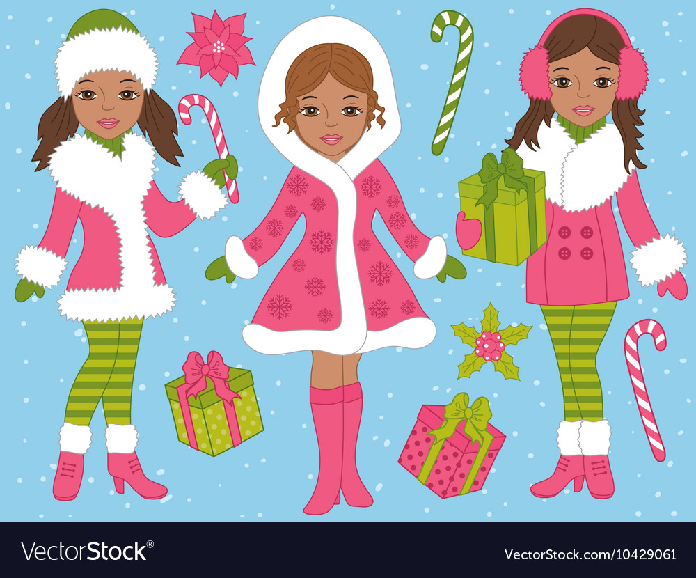 African American Christmas Girls Set Royalty Free Vector