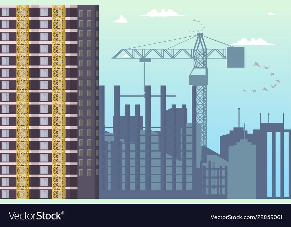 Concept modern city construction buildings