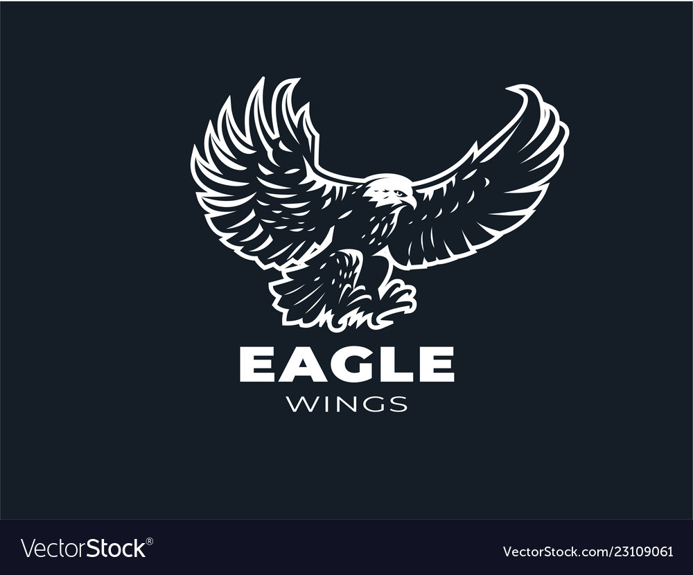 Eagle or hawk with outstretched wings