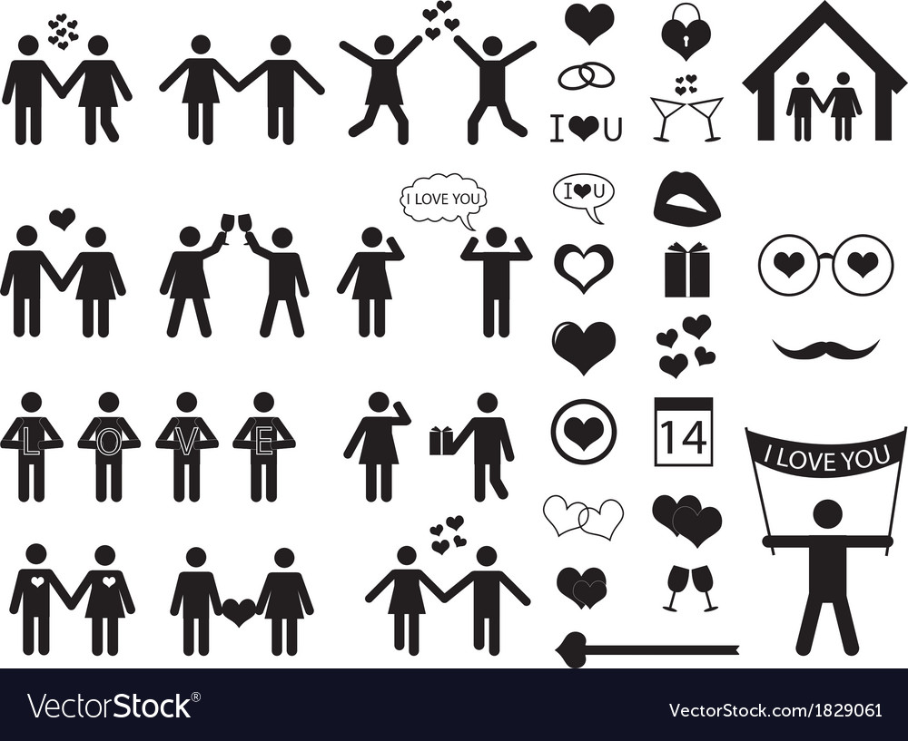 people pictogram for valentine day royalty free vector image