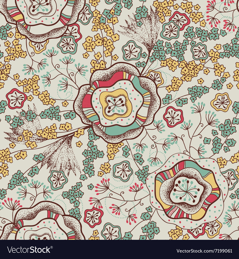 Seamless pattern and abstract flowers