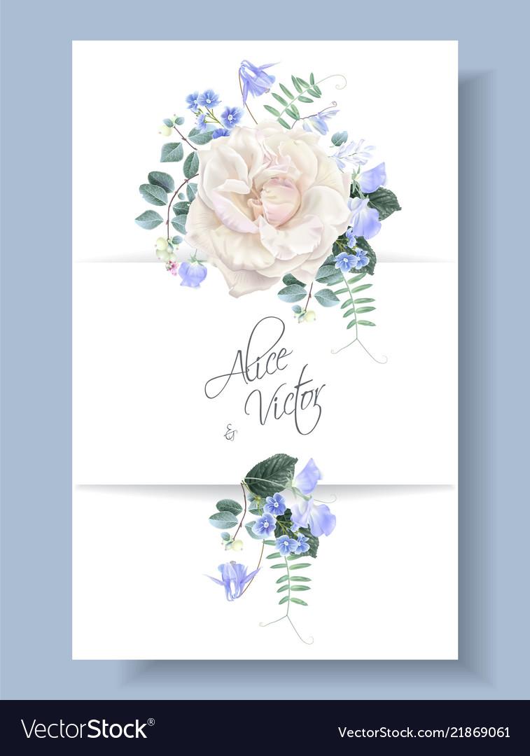 Vintage floral wedding card with rose