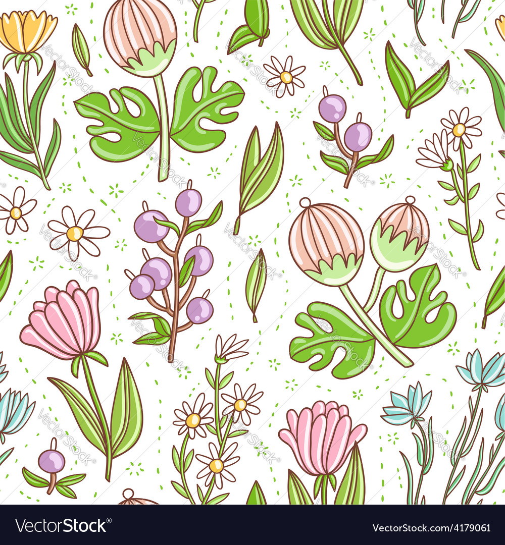 Wild floral colorful seamless pattern