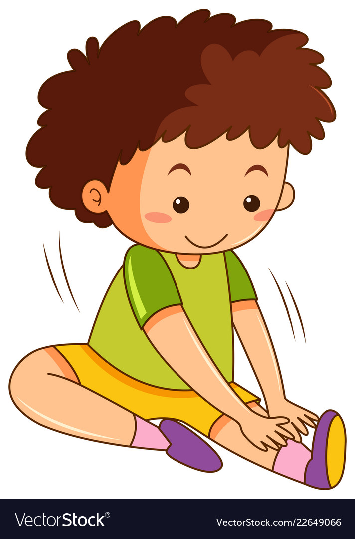 A Boy Stretching Exercises Royalty Free Vector Image