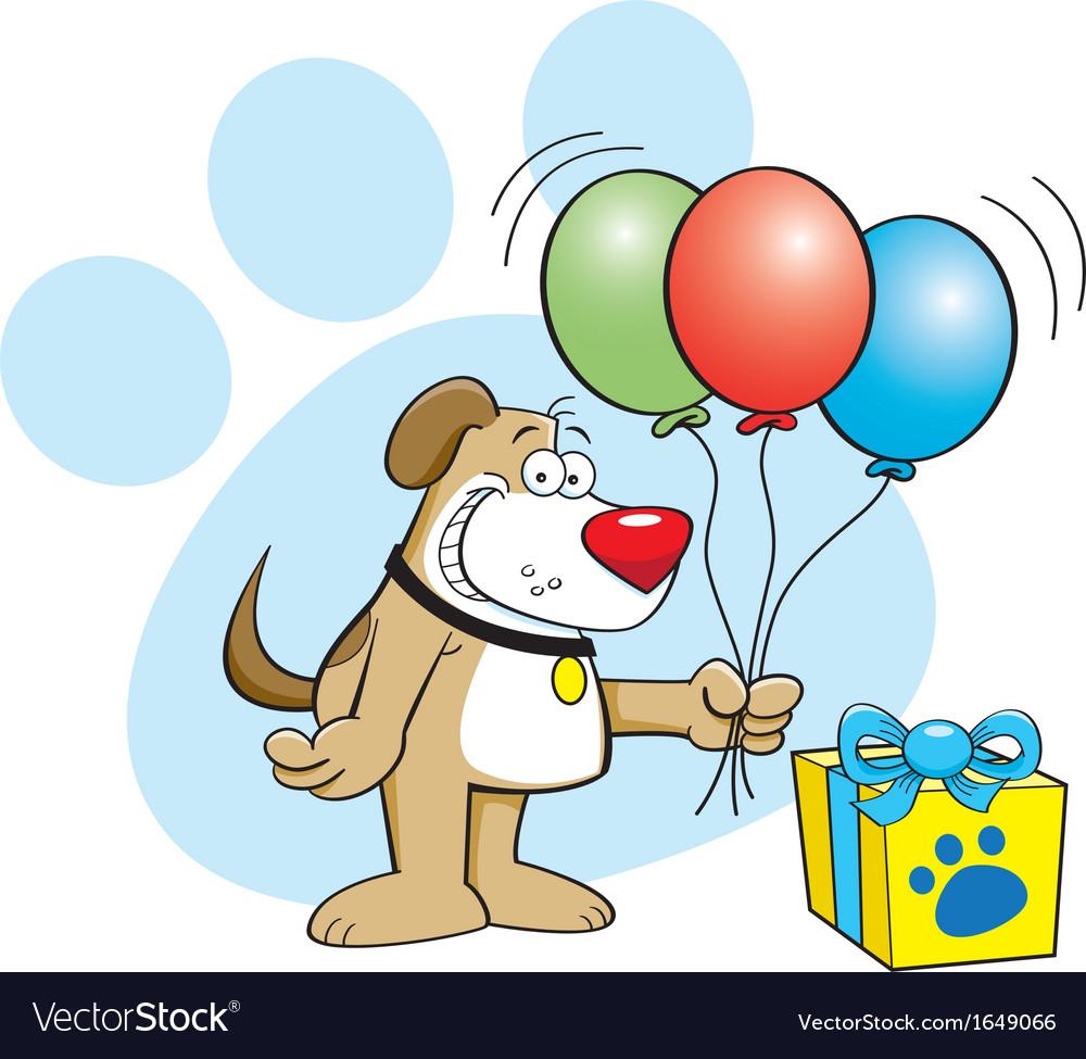 Cartoon Dog with Balloons