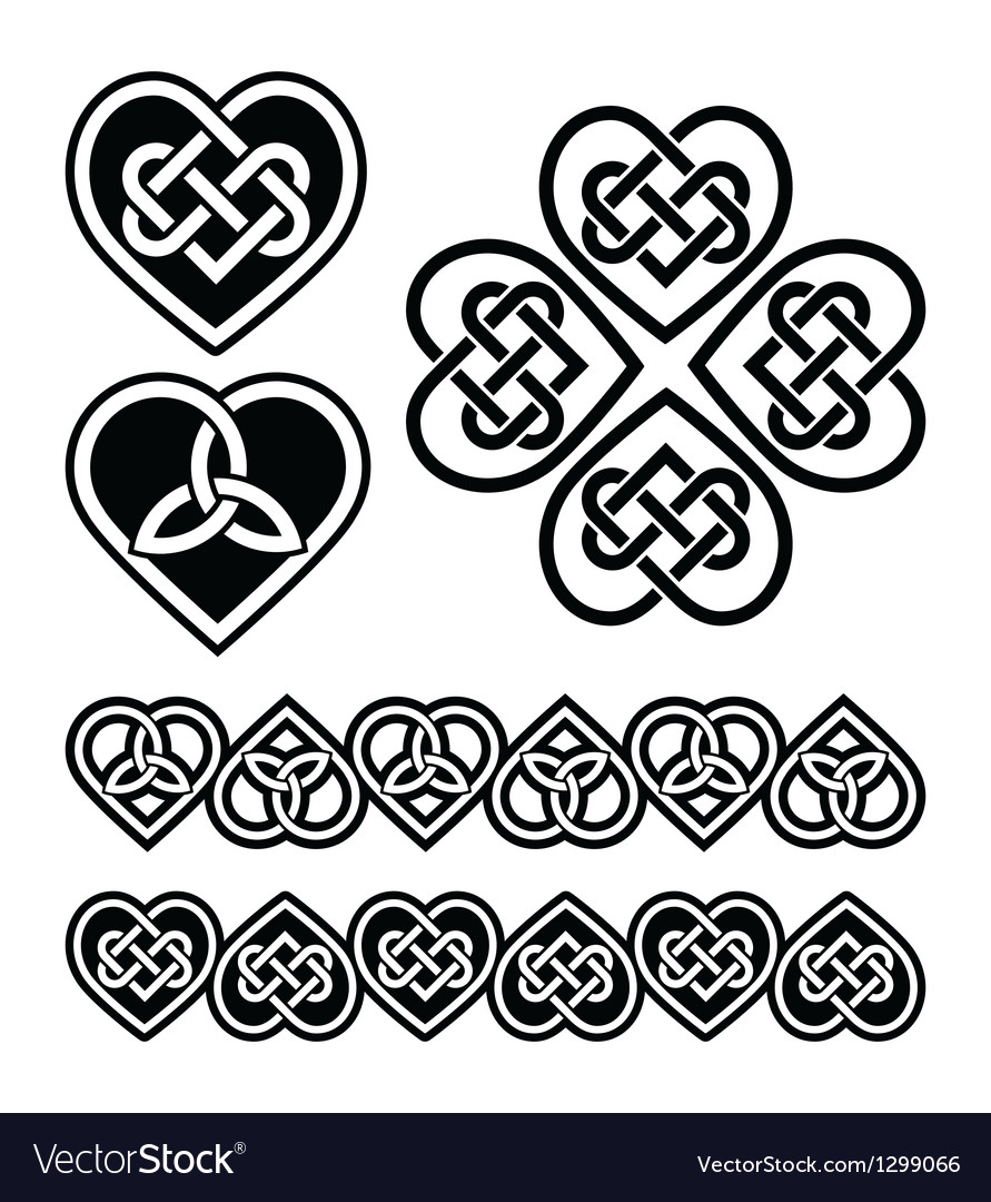 Celtic Heart Knot Symbols Set Royalty Free Vector Image